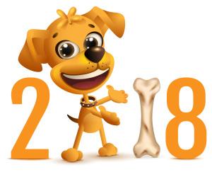 Yellow dog symbol 2018 year on Chinese calendar